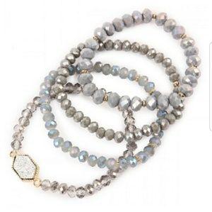 Jewelry - Gray Glass Bead Druzy Bracelets